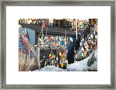 Framed Print featuring the photograph Maine Lobster Shack In Winter by Ranjay Mitra