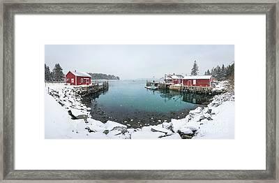 Maine Lobster Shacks In Winter Framed Print by Benjamin Williamson