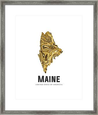 Maine Map Art Abstract In Golden Brown Framed Print