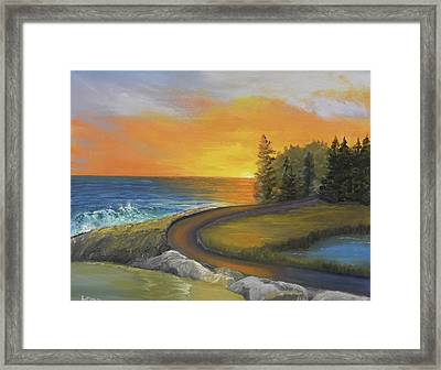Maine Ocean Sunrise Framed Print