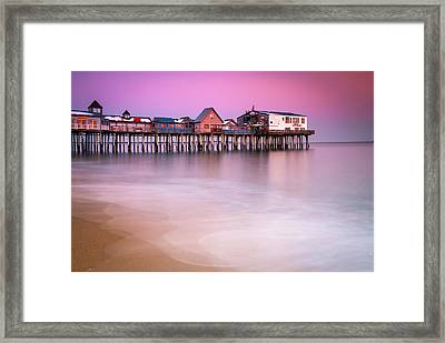 Framed Print featuring the photograph Maine Old Orchard Beach Pier Sunset  by Ranjay Mitra
