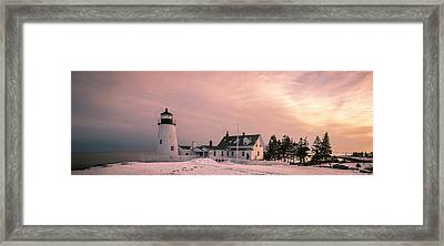 Maine Pemaquid Lighthouse After Winter Snow Storm Framed Print