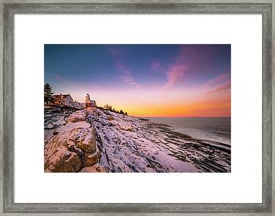 Framed Print featuring the photograph Maine Pemaquid Lighthouse In Winter Snow by Ranjay Mitra