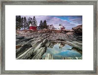 Maine Pemaquid Lighthouse Reflection Framed Print