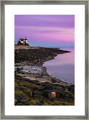Framed Print featuring the photograph Maine Prospect Harbor Lighthouse Sunset In Winter by Ranjay Mitra