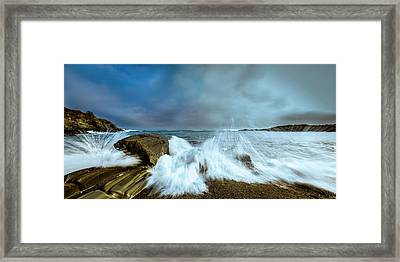 Maine Rocky Coast During Storm At Two Lights Framed Print