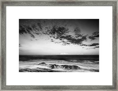 Maine Rocky Coast With Boulders And Clouds At Two Lights Park Framed Print