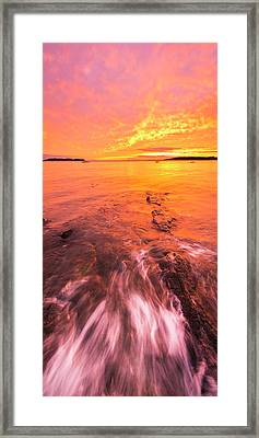 Maine Rocky Coastal Sunset At Kettle Cove Framed Print