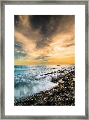 Framed Print featuring the photograph Maine Rocky Coastal Sunset by Ranjay Mitra
