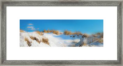 Maine Snow Dunes On Coast In Winter Panorama Framed Print