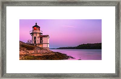 Maine Squirrel Point Lighthouse On Kennebec River Sunset Panorama Framed Print