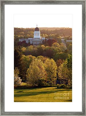 Maine State Capitol At Sunset Framed Print