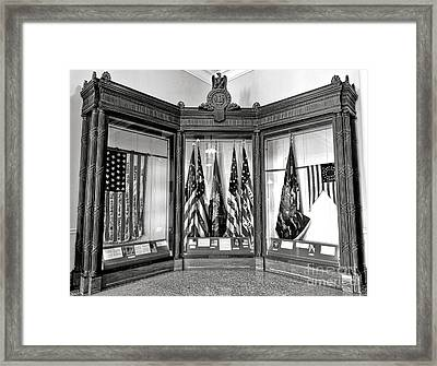 Maine State Capitol Hall Of Flags Civil War Display Case One Framed Print by Olivier Le Queinec