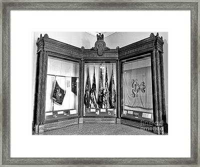 Maine State Capitol Hall Of Flags Civil War Display Case Two Framed Print by Olivier Le Queinec