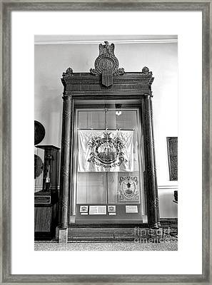 Maine State Capitol Hall Of Flags Militia Display Case Framed Print
