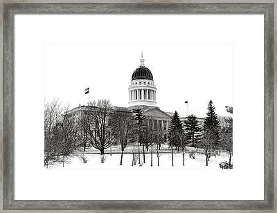 Maine State Capitol In Winter Framed Print