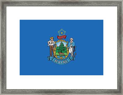Maine State Flag Framed Print by American School
