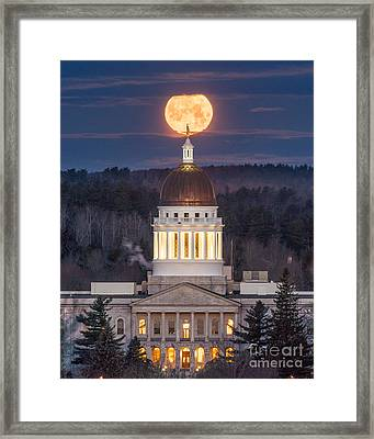 Maine State House Moon Framed Print