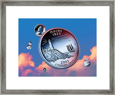 Maine State Quarter - Sky Coin 23 Framed Print