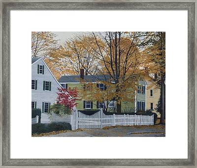 Autumn Day On Maine Street, Kennebunkport Framed Print