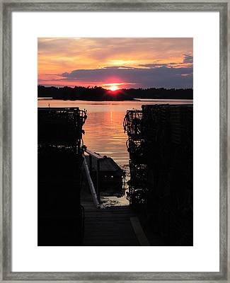Maine Sunset And Traps Framed Print