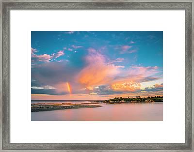 Maine Sunset - Rainbow Over Lands End Coast Framed Print