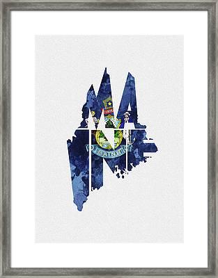 Maine Typographic Map Flag Framed Print