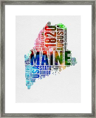 Maine Watercolor Word Cloud  Framed Print by Naxart Studio