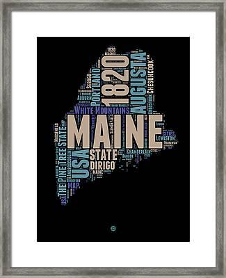 Maine Word Cloud 1 Framed Print by Naxart Studio