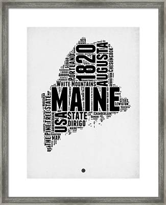 Maine Word Cloud 2 Framed Print by Naxart Studio