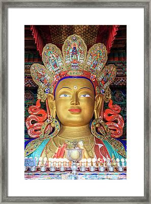 Maitreya Buddha Statue Framed Print by Alexey Stiop