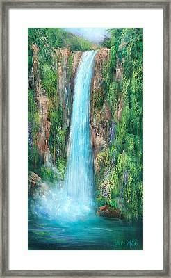 Majestic Falls Framed Print by Sally Seago