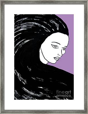 Majestic Lady J0715h Radient Orchid Pastel Painting 18-3224 B565a7 A985bb Framed Print by Mas Art Studio