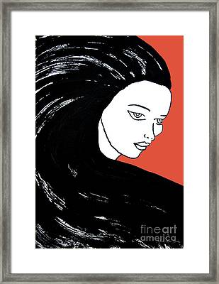 Majestic Lady J0715j Tangerine Tango Orange Pastel Painting 17-1463  E1523d F0532a Framed Print