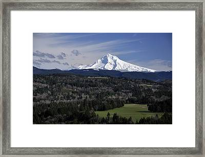 Framed Print featuring the photograph Majestic Mt Hood by Jim Walls PhotoArtist
