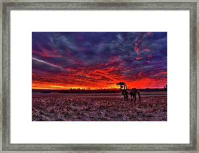 Majestic Red Clouds Winter Sunset The Iron Horse Art Framed Print by Reid Callaway
