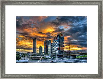Midtown Majestic Reflections Sunset Art Framed Print