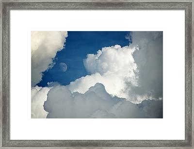 Majestic Storm Clouds With Moon Framed Print
