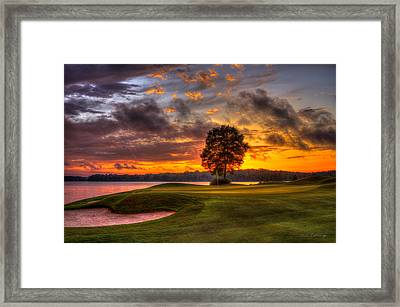 Majestic Sunset Golf The Landing Reynolds Plantation Lake Oconee Georgia Framed Print by Reid Callaway