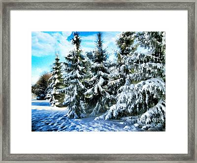 Majestic Winter In New England  Framed Print by Judy Palkimas