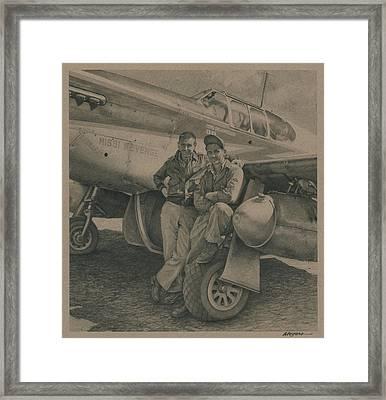 Major Edward Mccomas And Crew Chief 1944 Framed Print
