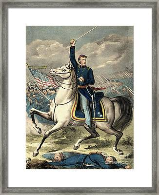 Major General Joseph Hooker Framed Print by American School