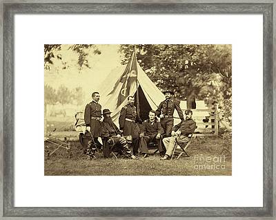 Major General Philip Sheridan And His Generals Framed Print by American School