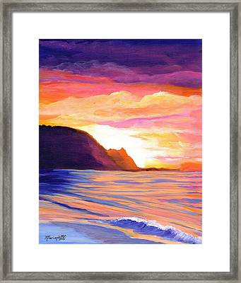 Framed Print featuring the painting Makana Sunset by Marionette Taboniar