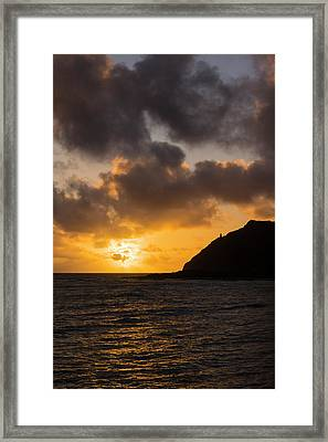 Makapuu Point Lighthouse Sunrise Framed Print by Brian Harig