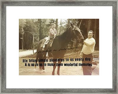Make A Memory Quote Framed Print by JAMART Photography