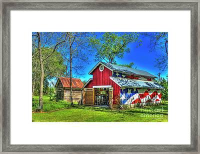 Framed Print featuring the photograph Make America Great Again Barn American Flag Art by Reid Callaway