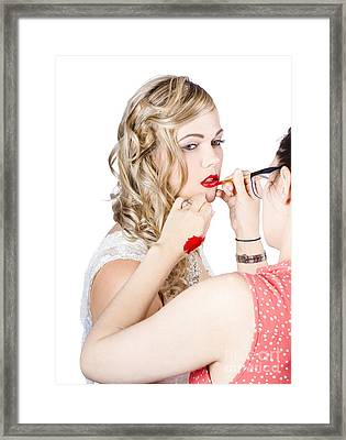 Make-up Artist Applying Lipstick On A Model Framed Print by Jorgo Photography - Wall Art Gallery