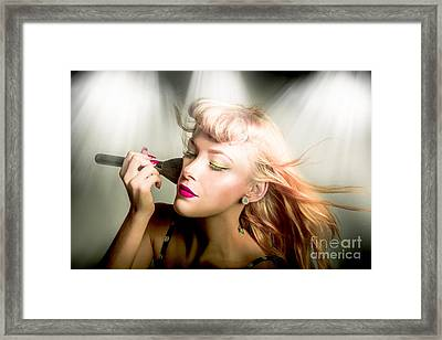 Make-up Brush Pinup Framed Print by Jorgo Photography - Wall Art Gallery