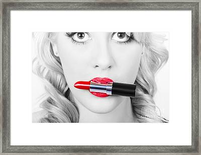 Make-up Closeup. Cosmetic Pinup Girl In Lip Makeup Framed Print by Jorgo Photography - Wall Art Gallery